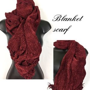 Red blanket/wrap style scarf